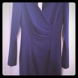 Kaysen long sleeve blue V neck sheath dress